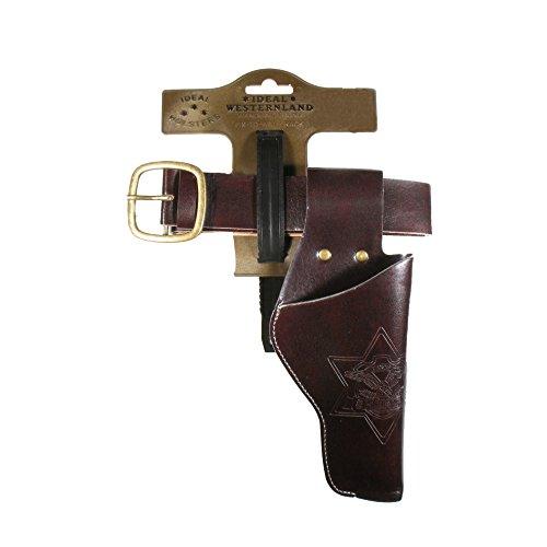 J.G.Schrödel Gürtel Duell: Pistolengürtel mit 1 Holster für Die Spielzeug-Pistole, Ideale Cowboy- und Faschingsausrüstung, 55–90 cm, dunkelbraun (750 0154)