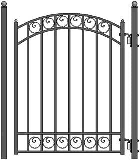 ALEKO PGDUB Dublin Style Ornamental Galvanized Steel Pedestrian Security Gate 5 x 4 Feet Black