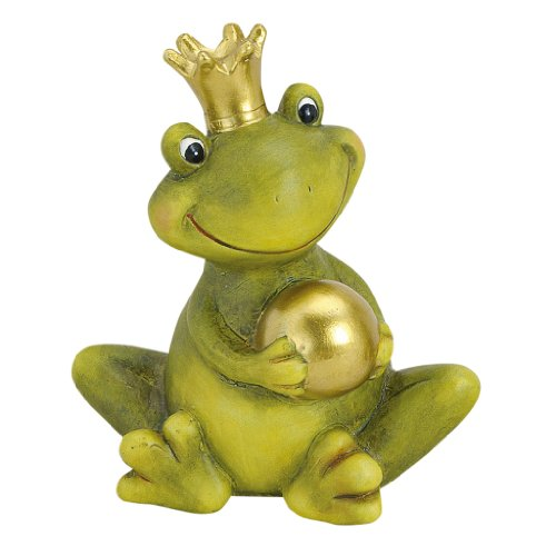 Froschkönig deko mit Kugel Gartendeko Keramik Figuren Gartenfiguren Frosch (Smile)