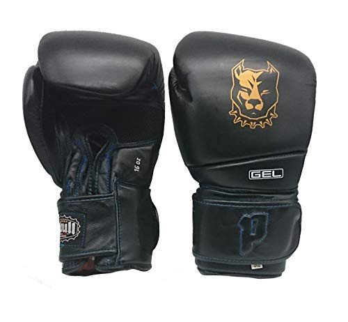 Pitbull Boxing Equipment GUANTONI Boxe | Guanti 12 OZ | Nero | Guanti Kick Boxing | Guanti Muay Thai | Guanti in Vera Pelle