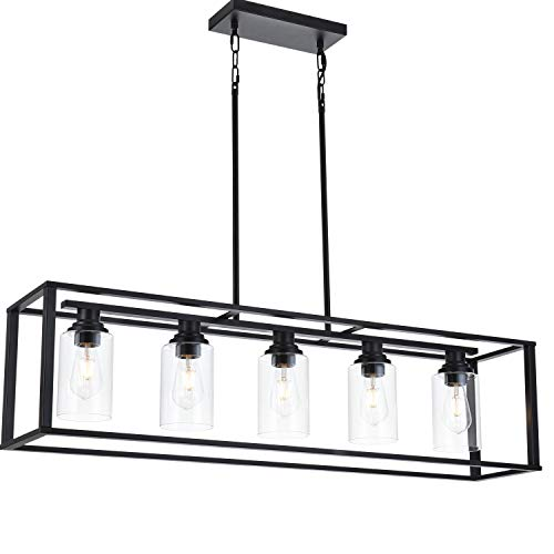 LUBURS  Kitchen Island Lighting - 5 Lights Chandelier,Black Pendant Lighting with Metal Adjustable Rods&Clear Glass Shade, Vintage Pendant Ceiling Lamp for Dining Room Kitchen Living Room Farmhouse