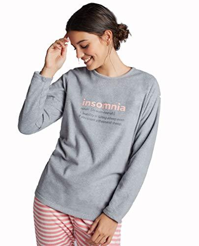 GISELA Pijama Polar Mujer (L, Gris)
