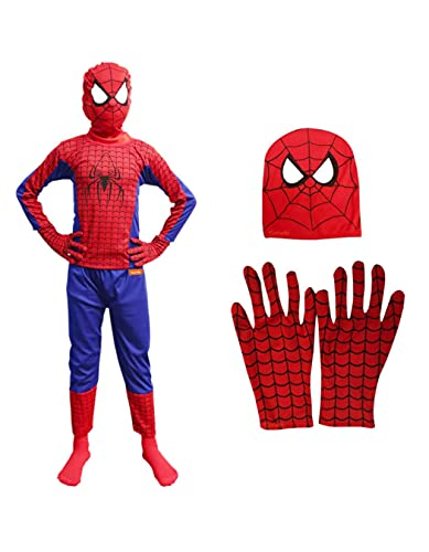 Sarvda super hero fancy dress costume for kids fun at home school annual function theme birthday party halloween costumes complete set with gloves for both boys and girls Multicolor, 4-6 years
