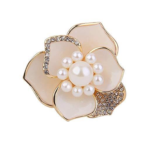 ogquaton seda pañuelo hebilla perla aleación cristal bufanda hebilla flor en forma pañuelo Anillo para ropa Pañuelo Vestido de fiesta (utilizar 1pcs blanco