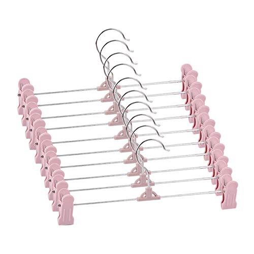 Perchas prácticas y Perchas de montaña, Perchas, 10 Perchas de Falda de Paquete con ajustes de plástico empuñadura Pantalones de suspensión (Color : Pink)