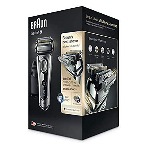 Braun Series 9 9290 cc - Afeitadora eléctrica para hombre de lámina, en húmedo y seco, máquina de afeitar barba con estación de limpieza Clean&Charge, plata, sólo recargable, recargable