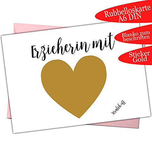 Abschiedsgeschenk für Erzieherin mit Herz Karte Kindergarten Abschied Rubbelloskarte Danke basteln