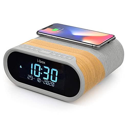 DAB DAB+ & FM Radio Alarm Clock, Wireless Fast 10W Qi Charging Large Digit Display Dual Alarm Clock with Bluetooth 5.0, 2x5W Stereo Speakers, DAB Radio, 2x USB Charging Ports