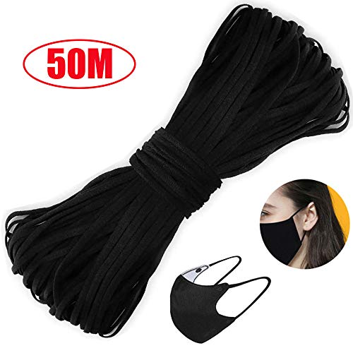MIHUA 50M Nero Corda Elastico per mascherine ,per Realizzare Maschere di qualità , Cucito Fai-da-Te, Maglieria, Accessori per Abbigliamento, Scarpe e Cappelli