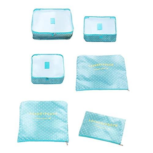 Tuimiyisou Embalaje de Viajes Cubos de Almacenamiento Bolsas de Viaje para el Equipaje Organizador Bolsas para la Ropa Azul del Modelo de Punto 6Pcs