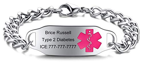 JF.JEWELRY Personalized Customize Stainless Steel Medical Alert ID Awareness Bracelet for Women and Men,5.5-8.5 inches,Free Engraving Rose Red Medical Logo
