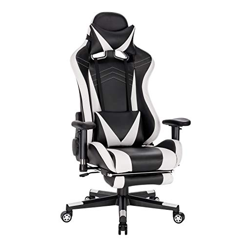 WOLTU BS93ws Gaming Stuhl Racing Stuhl Bürostuhl Computer Stuhl PC Stuhl Arbeitsstuhl Chefsessel Drehstuhl höhenverstellbar mit Armlehnen mit Kopfkissen Lendenstütze Fußstütze aus Kunstleder Weiß
