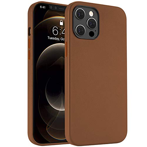 Real Leather Case Compatible with iPhone 12 Mini 5.4-Inch, ProHT Genuine Leather Protective Case, Slim Lightweight Dedicate Texture Anti-Scratch– Brown