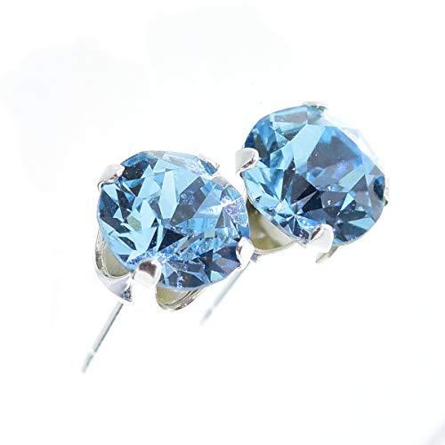 Boucles d'oreilles à tige en argent 925 avec cristaux Swarovski Bleu aigue-marine  Boîte cadeau incluse Fabriquée en Angleterre. Joli bijou