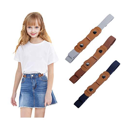 WELROG Cinturones elásticos sin hebilla para niños - Cinturones elásticos invisibles ajustables...