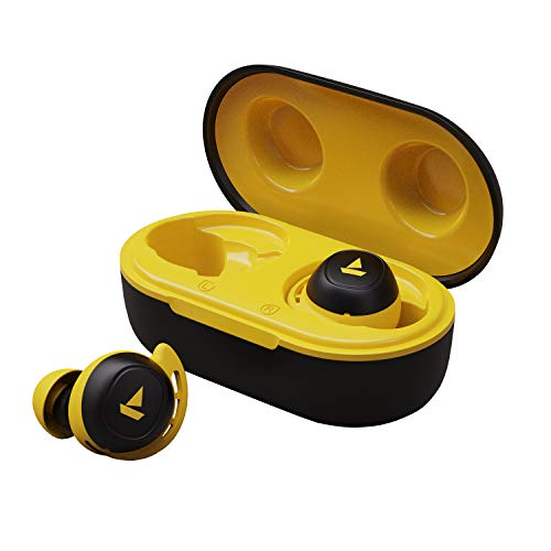 boAt Airdopes 441 TWS Ear-Buds with IWP Technology, Immersive Audio, Up to 30H Total Playback, IPX7 Water Resistance, Super Touch Controls, Secure Sports Fit & Type-C Port(Bumblebee Yellow)