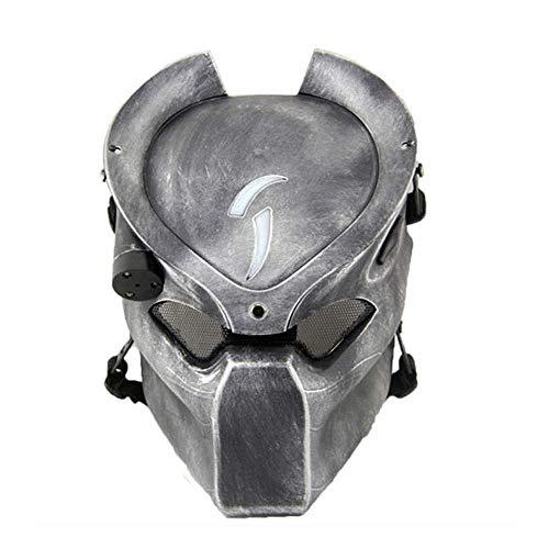 YaPin Alien Vs. Mscara de depredador Tira infrarroja Campo de luz CS Mscara Protectora Hider al Aire Libre Mscara de Lobo Solitario Al Aire Libre Mscara CS (Color : Silver)