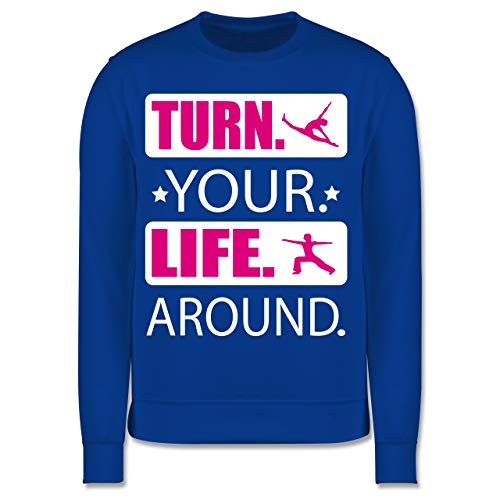 Sport Kind - Turn. Your. Life. Around. - weiß/Fuchsia - 5/6 Jahre (116) - Royalblau - JH030K - Kinder Pullover