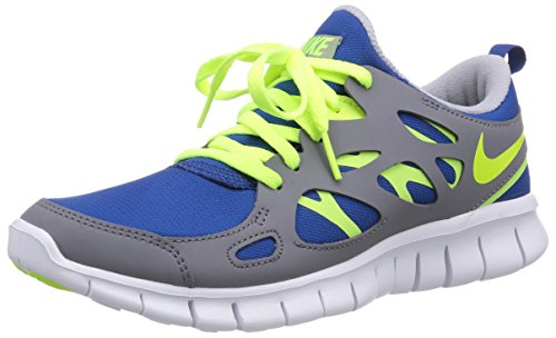 Nike Unisex-Kinder Free Run 2 (GS) Laufschuhe, Blau (Gym blue/volt-cool grey-white), 38 EU