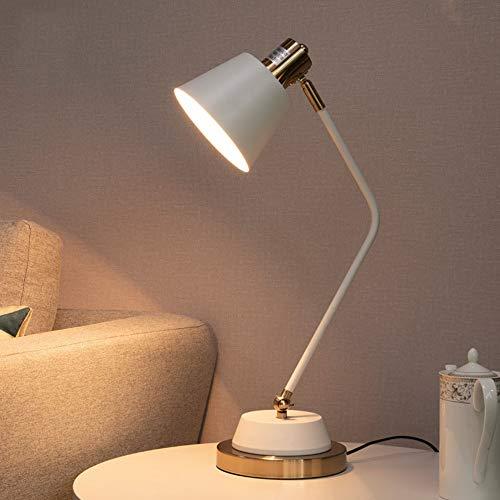 YZYZYZ Lámpara LED moderna minimalista de metal para sala de estar, estudio, oficina, lectura, dormitorio, mesita de noche, 1 x E27 19 cm x 46 cm (color: blanco)