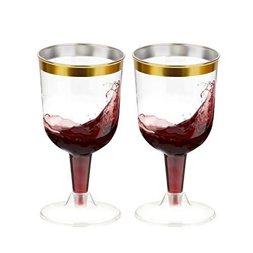 TOROTON 50 Copas de Vino Transparente, 180ml Copas de Fiesta Duro Plástico Reutilizables, para Catering Fiestas Cumpleaños Bodas - Oro