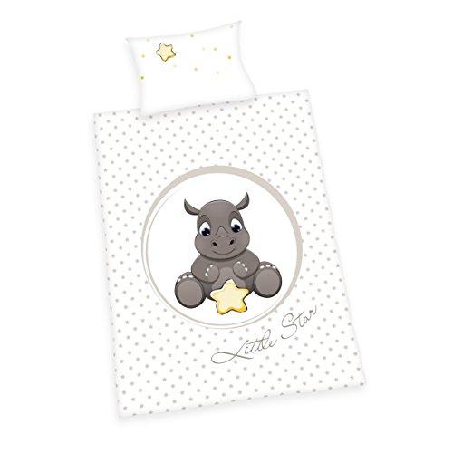 Herding BABY BEST Parure de Lit pour Enfants, Rhinocéros Jana Réversible, Housse de Couette 100 x 135 cm, Taie d'Oreiller 40 x 60 cm, Coton/Renforcé