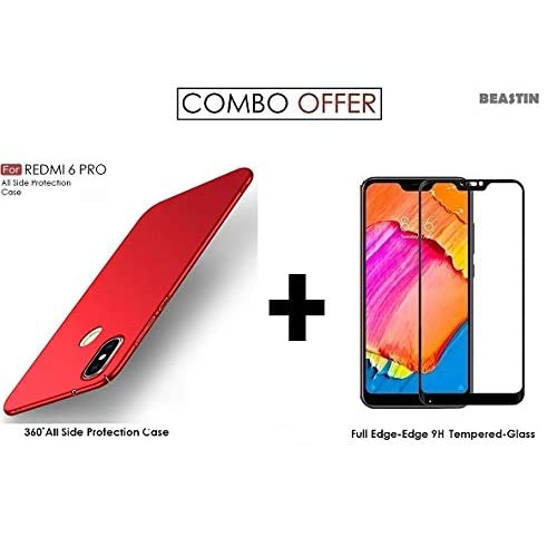 BEASTIN Combo Offer of All Sides Protection 360 Degree Sleek Rubberised Matte Hard Case Back Cover Plus 5D Tempered Glass for XIAOMI REDMI 6 PRO - Fiery Red