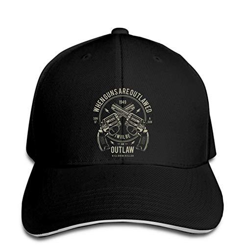 Gorra de béisbol Hombres Outlaw de la Moda Cuando Las Armas están prohibidas Seré una Gorra de béisbol para Hombre Sombrero Negro de Verano Snapback Pico