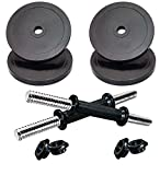 V22 Set of 10 Kg Pure PVC Weight Plates Black 2.5kg X 4pcs with 1 Pair Dumbbell Rods