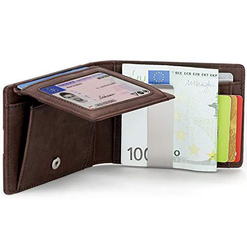 Vemingo Herren Geldbörse Geldbeutel mit Geldklammer Münzfach und Sichtfenster   RFID Blocker Kreditkartenetui Karten Portemonnaie   Dünne Brieftasche Portmonee für Männer XB-045 Braun