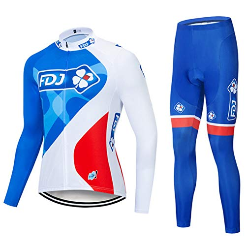 FDJ Classic Bicycle Sportswear - Jerseys de Ciclismo for Hombres de Manga Larga Pro Racing Club, Bicicleta de Carretera al Aire Libre Anti-UV MTB MTB Trajes de Ciclismo (Color : B, Size : X-Large)
