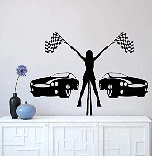 Racing girl vinilo pegatinas de pared carreras de coches decoración del hogar garaje art deco pegatinas mural extraíble 80 * 57C m