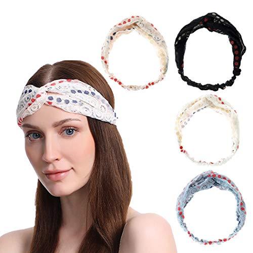 Sethain Bandeau Vintage Bandeau Criss Cross Bandeau de yoga Élastique Dentelle Point Bandana extensible Chapeaux Pour femmes et filles (pack de 4)
