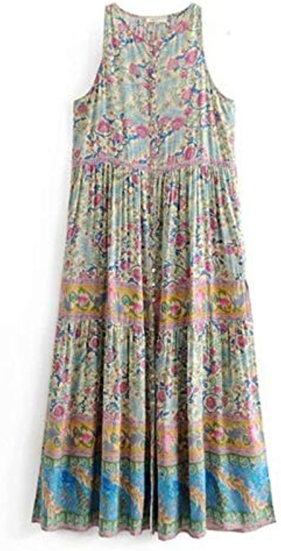 NANADEDIAN New Bohemian Buttons O neck Flower Print Dress Ethnic Woman Sleevless Side Split Maxi Long Dresses