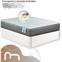Mi Cama Me Llama Canapé de Madera Cheap + Colchón viscoelástico Reversible Premium - Montaje Incluido (150x190, Blanco)