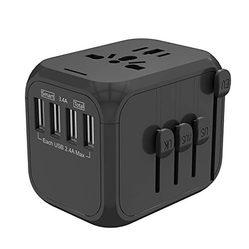 NFJMWM Travel Power Adapter, Worldwide AC Outlet Plugs Adapters for Over 150 Countries, Smart High Speed 2.4A 4Xusb Wall Charger for Hair Dryer Steam Iron Laptop Cell Phone