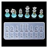 FEANG Tablero Molde de Silicona de Forma de ajedrez Internacional DIY Clay Epoxy Resina de Resina Molde Colgante Molde Ajedrez y Damas