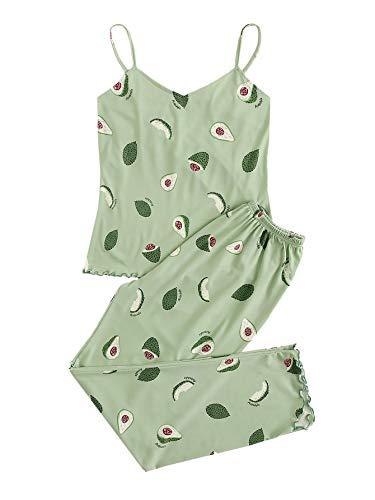 DIDK Conjunto de pijama para mujer, multicolor, informal, con tirantes finos, camiseta, pantalones y pijama con dobladillo ondulado Color verde aguacate XL