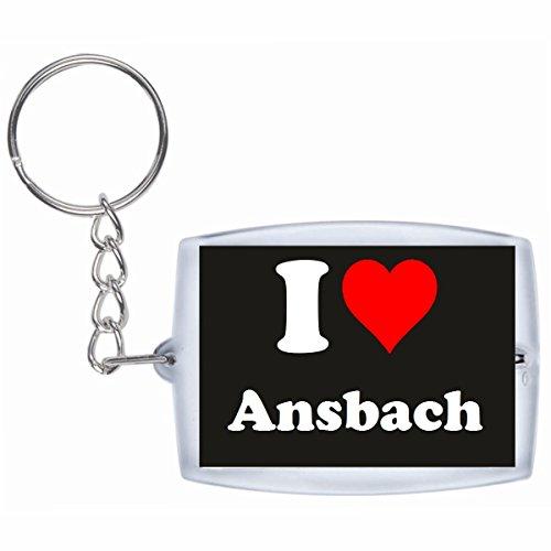 Druckerlebnis24 Schlüsselanhänger I Love Ansbach in Schwarz - Exclusiver Geschenktipp zu Weihnachten Jahrestag Geburtstag Lieblingsmensch