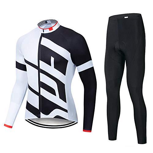 SSQXF Conjunto de Jersey de Ciclismo de Lana para Unisex, Manga Larga, Invierno, cálido, térmico, a Prueba de Viento, Bicicleta, Babero, Pantalones, Ropa de Bicicleta-Segundo_Metro