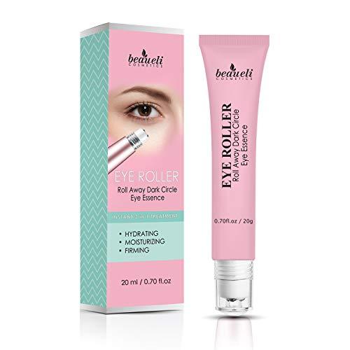 Eye Serum & Eye Roller for Anti Aging Dark Circles Puffiness Under Eye Bags Wrinkles Eye Cream Massager with Peptide Hyaluronic Acid Niacinamide 0.7 fl.oz by beaueli