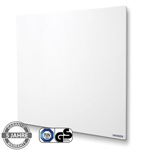 VASNER Citara Infrarotheizung 450 Watt Carbon 60x60 cm, weiß Metall, für Decke - Wand-Montage, ultraflache Deckenhalterung, IP 44 Schutz, Bad Heizpaneel Elektroheizung