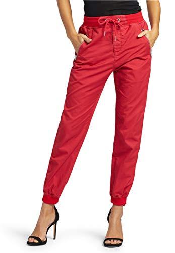 khujo Damen Hose Nathalia aus Reiner Baumwolle Sommerhose mit Reißverschlusstaschen