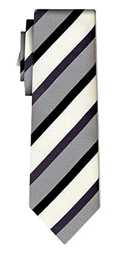 Cravate rayée stripe grey black ecru