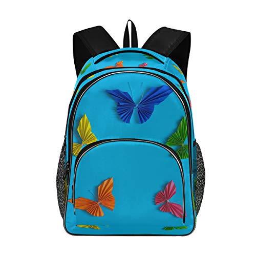 Irud Shcool Rucksack, Bunte Papier-Schmetterlinge, langlebige Tasche, Arbeitstasche, leicht, Laptop-Tasche, wasserdicht, Schulrucksack, Geschenke für Männer und Frauen
