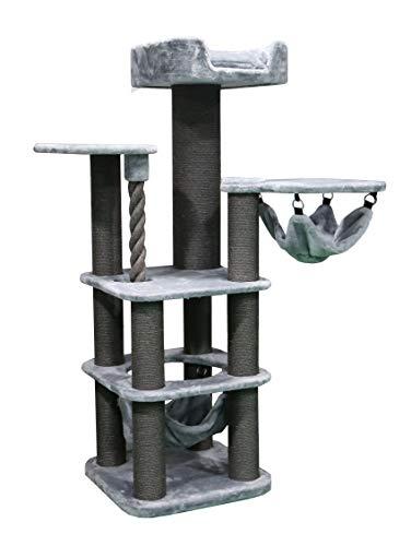 Petrebels kratzbaum Grosse Katzen stabil Panorama 172 cm Grau mit Dicker Ø 12 und Ø 20 cm Stämme XXL Kratzbaum Maine Coon