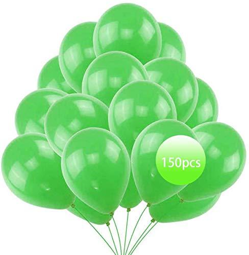 Tek One 150 globos verdes de 26 cm con forma de helio, para primera comunión, cumpleaños, boda, aniversario, bautizo, niña, graduación, cualquier fiesta.