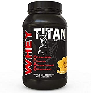 Titan WHEY Premium Whey Protein Powder for Improved Muscle Recovery with 23 Grams of Clean Whey Protein |BCAA and Digestive Enzymes| (Vanilla Wafer, 2 lb)