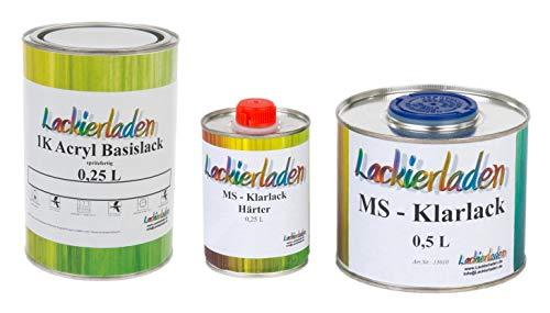 Lackierladen Autolack 1,0 Liter Set MS Klarlack Härter Wunschfarbe spritzfertig Audi LZ5T,Y3 Blauperleffekt