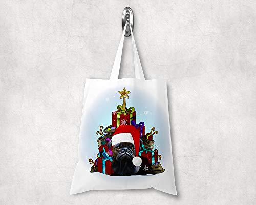 Handgemachte Mops-Tasche, Perfektes Geschenk für Hundebesitzer Lässige Umhängetasche, Unisex-Tragtasche, Strapazierfähiges Design, 38 ×42 cm